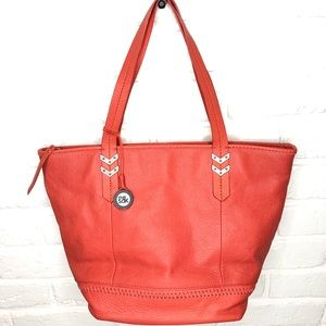 NWOT The Sak Gleason Orange Leather zip tote